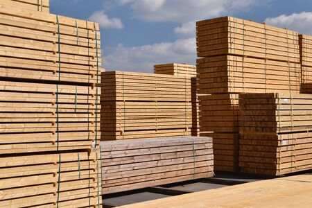 Timber mill/ sawmill: storage of planed wooden boards