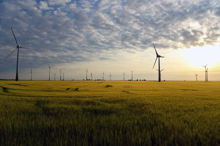 Renewable energies - power generation with wind turbines in a wind farm Redactioneel