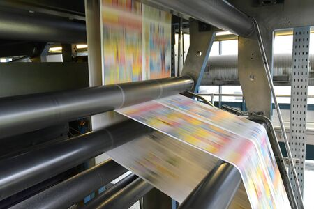 printing of coloured newspapers with an offset printing machine at a printing press company