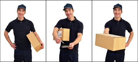 Delivery service - parcel carrier to deliver parcels and consignments - isolated on white background Stockfoto