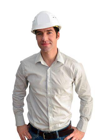 Portrait isolated friendly architect on white background