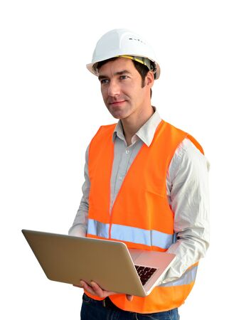 Portrait isolated friendly architect with notebook on white background