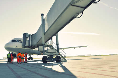 handling of an aircraft at the airport - ground staff and buildings