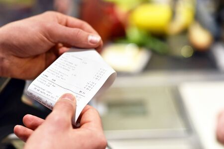 checkout and pay at supermarket