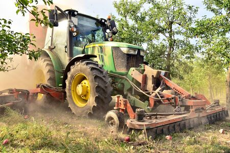 modern apple harvest with a harvesting machine on a plantation with fruit trees