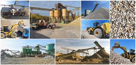 Gravel pit: building and wheel loader loading gravel onto a truck Reklamní fotografie - 151512211