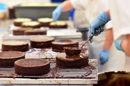 industrial production of cakes and tarts in a large bakery on an assembly line