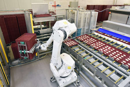 modern industrial robot in food company - industrial production of bakery products on an assembly line