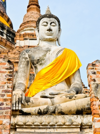 venerate: Ruined Old Temple of Ayutthaya,in Thailand, Stock Photo