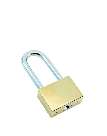 Metal padlock on white background Stock Photo - 16420722