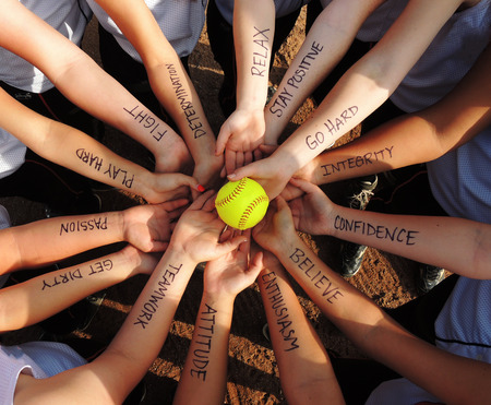 Softball Motivational Breakdown Huddle Stockfoto