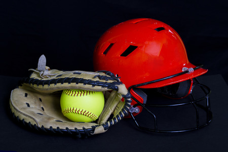 Softball Mitt  And Helmet