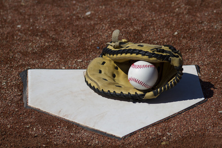 homeplate: A Catchers Mitt With White Baseball On Homeplate