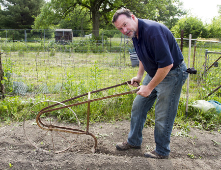 plant seed: A organic farmer using a high wheel cultivator to make a seed row in a garden.