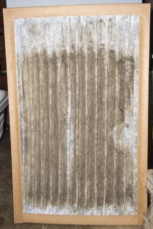 お客様のガス炉から取られる汚れた炉のフィルターのフロント ビュー。