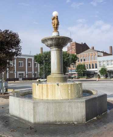 Shelbville Indiana water fountain in the downtown circle in HDR.