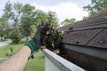 maintenance person: Cleaning gutters filled with leaves and sticks. Stock Photo