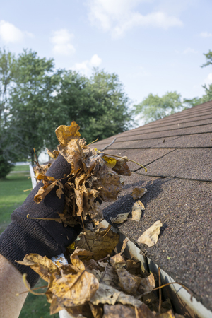 Cleaning leaves out of a gutter for a customer.