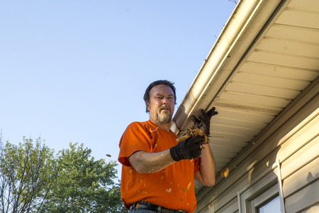 Cleaning gutters of leaves on a hot day. Stock Photo