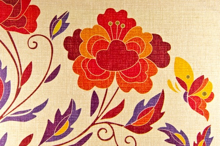 Vintage wallpaper with floral pattern photo