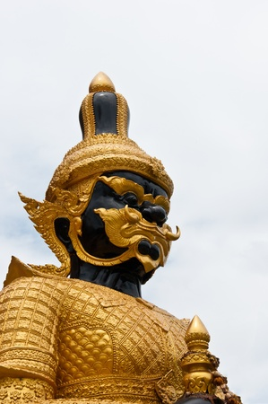 Thai demon guardian in temple Stock Photo