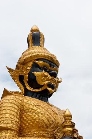 Thai demon guardian in temple Stock Photo