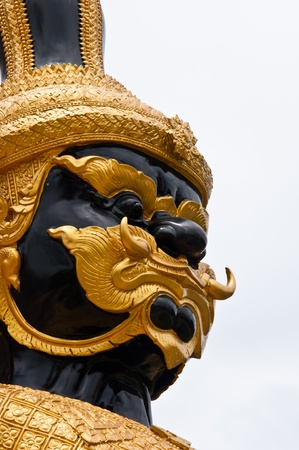 Close-up Thai demon guardian in temple