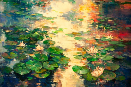 The oil painting of Lotus pool Stock Photo - 10345534