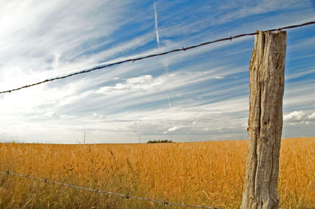 Clouds against blue sky over farmers field with barbed wire fence.