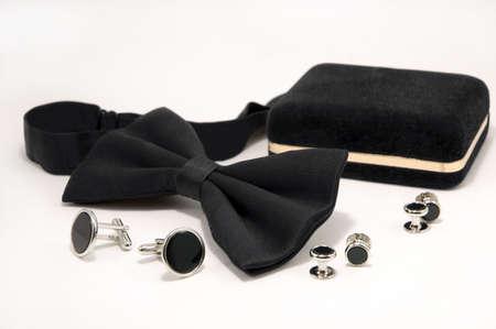 Bow tie and onyx cufflinks.