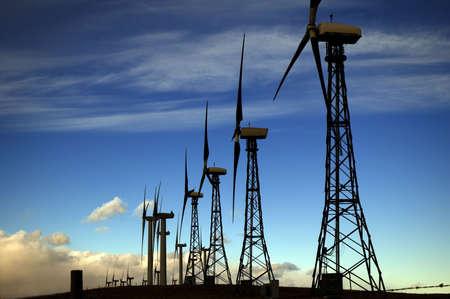 Windmills generating electricity. Stock Photo
