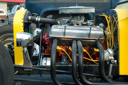 근육 자동차의 엔진 닫습니다. 스톡 콘텐츠