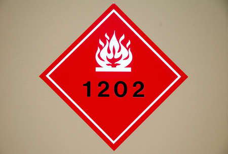 Red flammable liquid hazard diamond sign. Stock fotó - 1694418