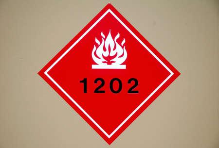 Red flammable liquid hazard diamond sign. Stock fotó
