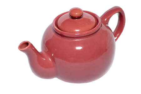Purple ceramic teapot on a white background.