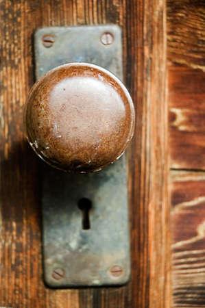 Vintage wordt de lockset, met ronde deur klink en sleutel gat.
