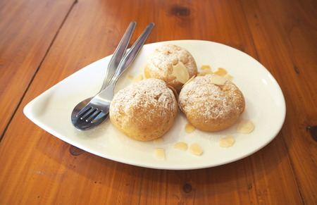 choux: Choux cream with almond Stock Photo