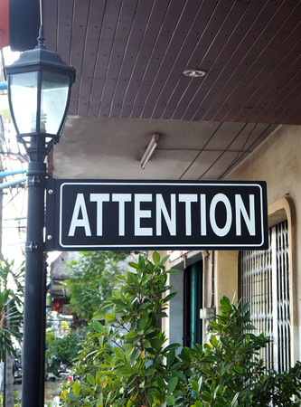 attention: Attention label Stock Photo