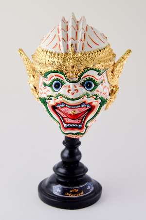 khon: Pantomime, Khon Angel mask in native Thai style Stock Photo