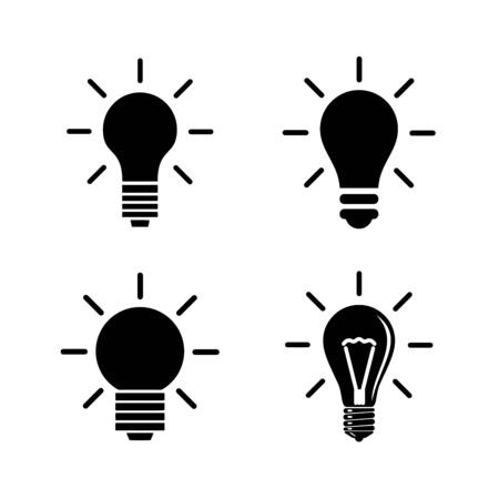 Light Bulb line icon vector, isolated on white background. Idea sign, solution, thinking concept Vetores