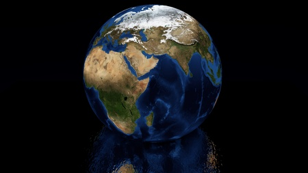 reflection in water: Planet earth with reflection in water. Stock Photo
