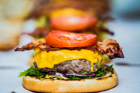 A burger waiting to be finished Stock Photo