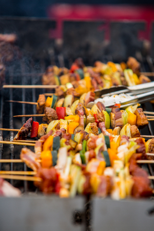 commercially: Barbecue sticks with meat and vegetables.