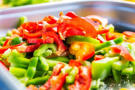 Fresh garden salad. Fresh garden salad on a plate. Fresh and healthy vegetable salad