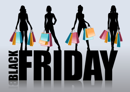 fashion shopping: Black friday sales. Fashion shopping woman black silhouette with shopping bags. Black Friday Sale advertising template