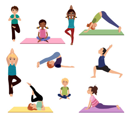 Yoga for kids. Asanas. Set of yoga poses and healthy lifestyle. Vector illustration