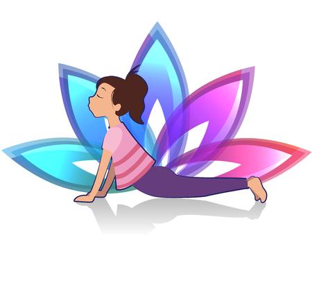 Yoga for kids. Yoga asana pose and healthy lifestyle on lotus background. Vector illustration