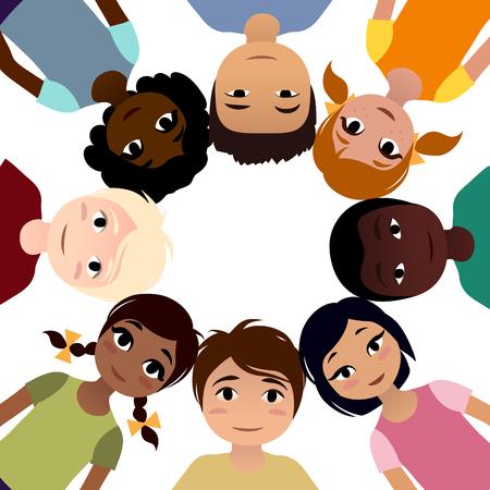 niños diferentes razas: Paz niños de diferentes etnias en círculo sobre fondo blanco. ilustración vectorial Vectores