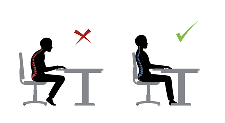 ergonomic. Wrong and correct sitting pose of a man near the table Vettoriali
