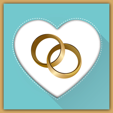 wedding reception decoration: Wedding card with wedding rings in a heart. Vector illustration Illustration